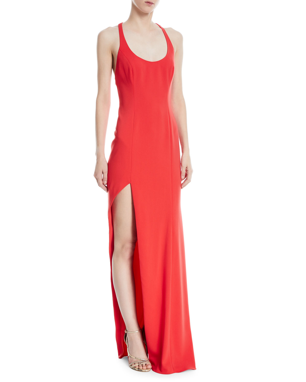 Jay Godfrey High-Slit Racerback Floor-Length Gown   Neiman Marcus
