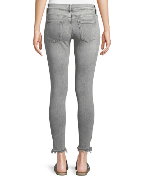 The Stiletto Skinny Stone-Washed Jeans w/ Distressed Hem