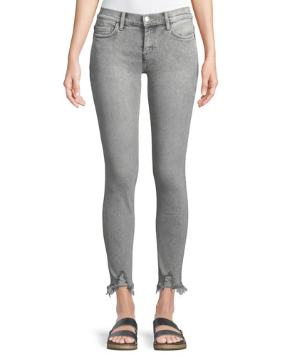 The Stiletto Skinny-Leg Stone-Washed Jeans w/ Distressed Hem