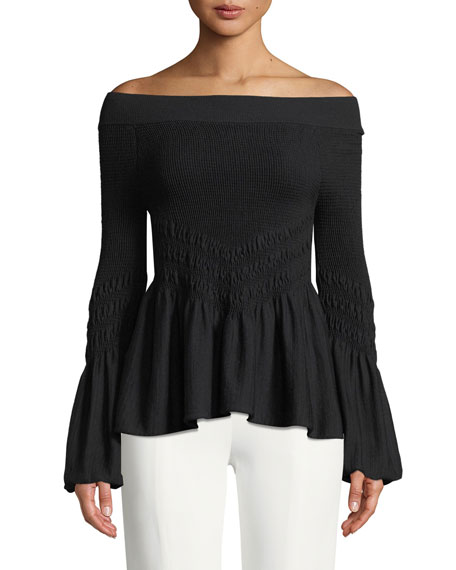 Jonathan Simkhai Off-the-Shoulder Smocked Knit Bell-Sleeve Top