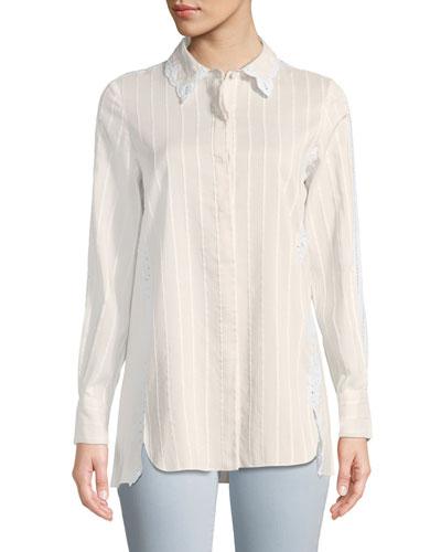 Tonal-Striped Button-Down Cotton-Silk Shirt w/ Eyelet Lace