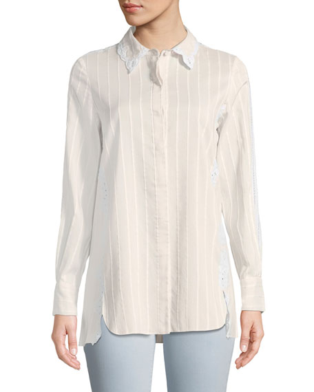 Tonal-Striped Button-Down Cotton-Silk Shirt w/ Eyelet Lace