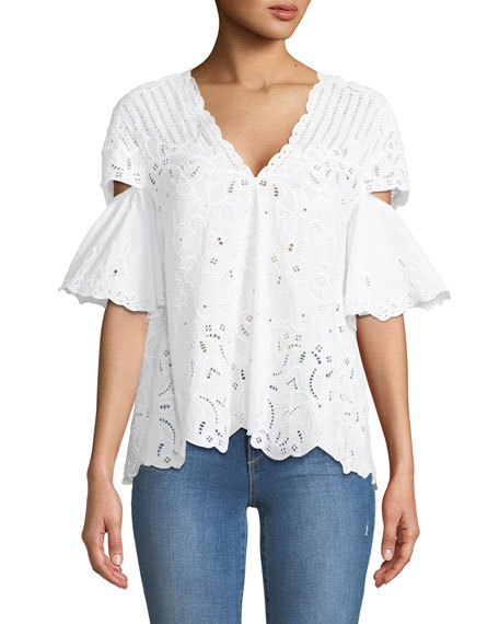 Jonathan Simkhai V-Neck Scallop Cutout Embroidery Top