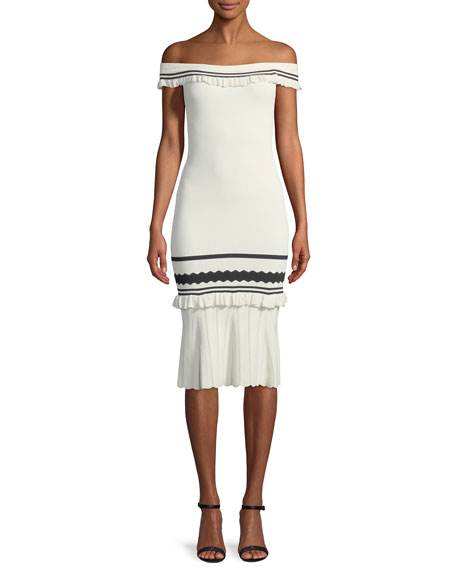 Striped Rib-Knit Off-the-Shoulder Body-Con Midi Cocktail Dress