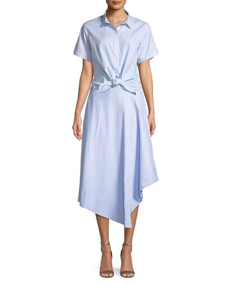 Wrapped Oxford Handkerchief Midi Skirt