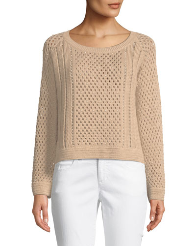 Long-Sleeve Pearlescent Crochet Pullover Sweater