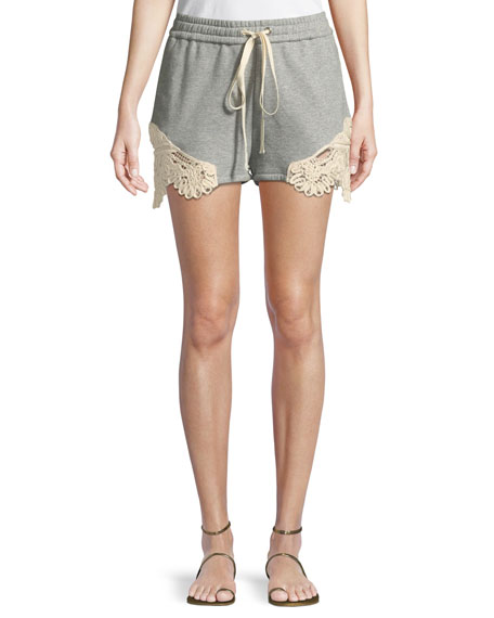Jonathan Simkhai Crochet Casuals Drawstring Cotton Shorts