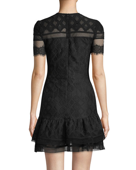Multimedia Threaded Mesh Mini Ruffle Dress