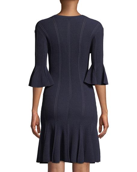 V-Neck Linked Rib-Knit Dress w/ Lace-Up Detail