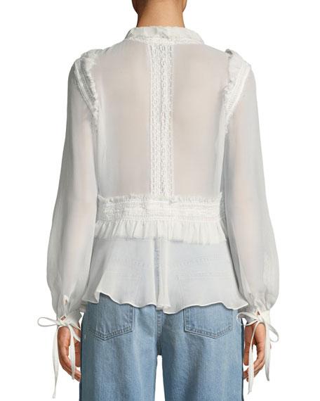 Mixed-Trim Long-Sleeve Silk Blouse
