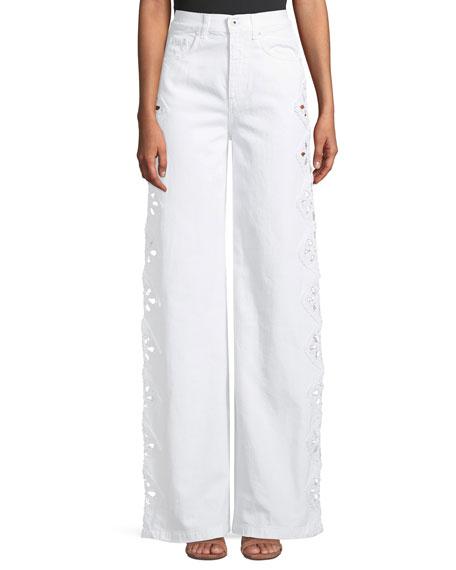 High-Rise Macrame Wide-Leg Jeans