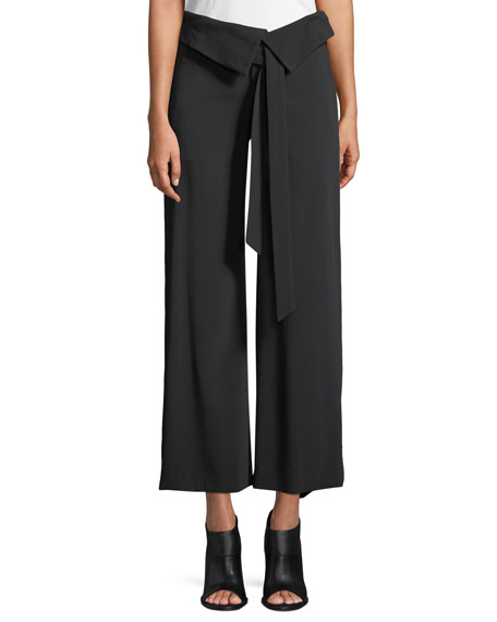 Jonathan Simkhai Deconstructed Satin Crepe Wide-Leg Fold-Over
