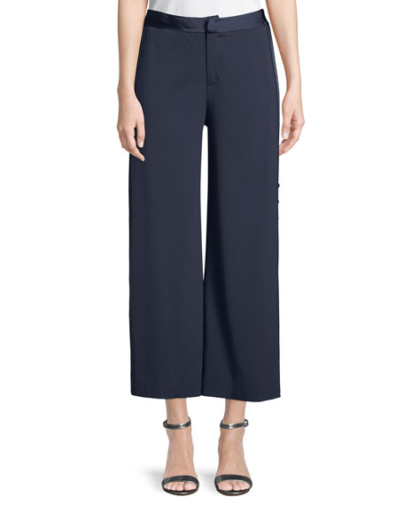 Deconstructed Satin Crepe Cropped Pants