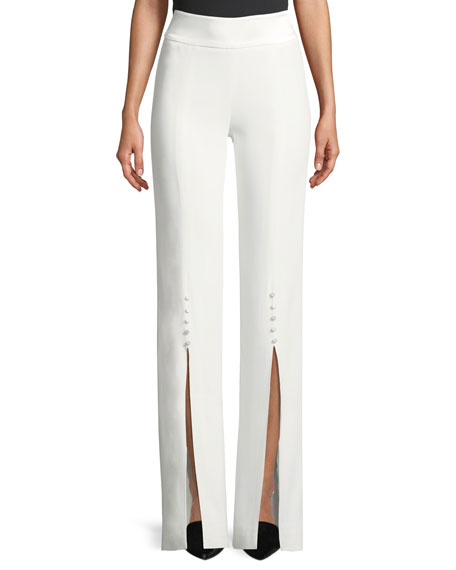 Deconstructed Satin Crepe Front-Slit Pants
