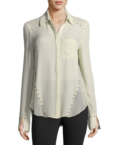 Rioting Star Button-Front Silk Blouse with Studded Trim