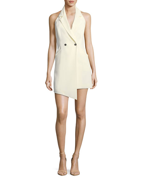 Saddle-Up Sleeveless Crepe Halter Dress