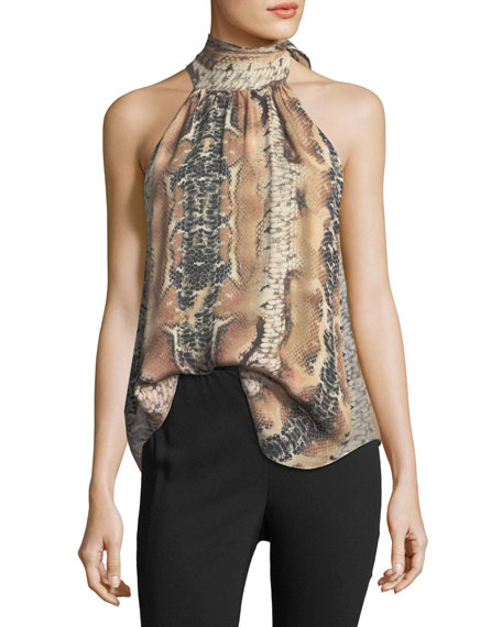 Hold-Up Necktie Snake-Print Silk Blouse