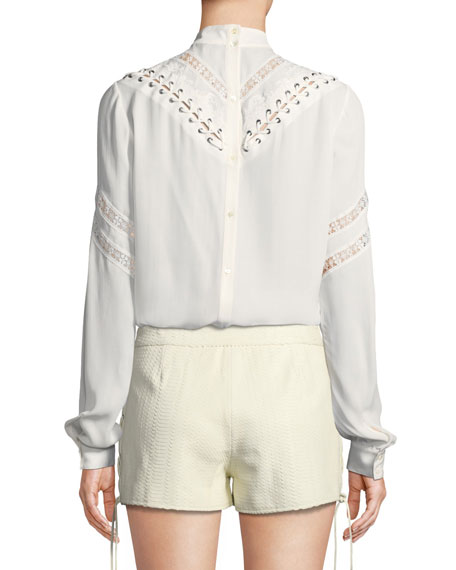 Old West Long-Sleeve Silk Blouse with Embroidery & Lace Trim
