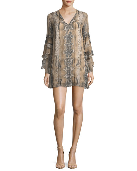 Haute Hippie Rock and Roll Split-Neck Snake-Print Silk
