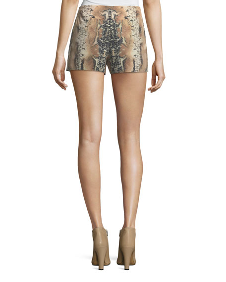 Riding Wild Snake-Print Silk Shorts
