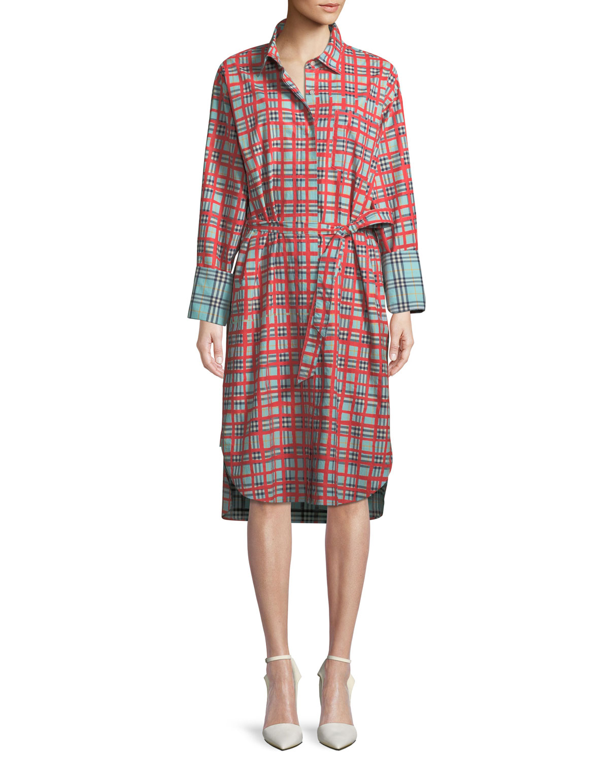 c63dbf1d0f51 Burberry Isotto Check Contrast-Cuff Shirtdress
