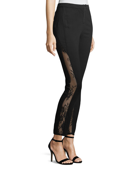 The Thorny Rose Skinny-Leg Pants with Lace Inserts