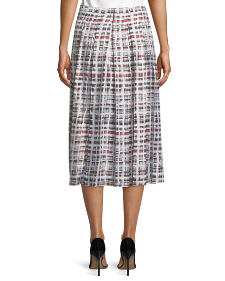 Farnborough Window-Check Pleated Silk Skirt