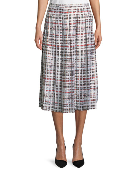 Burberry Farnborough Window-Check Pleated Silk Skirt