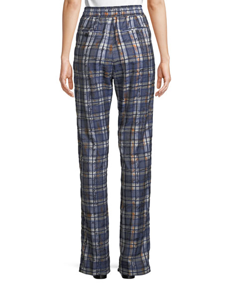 Tanley Check Satin Jogger Pants with Side Stripes