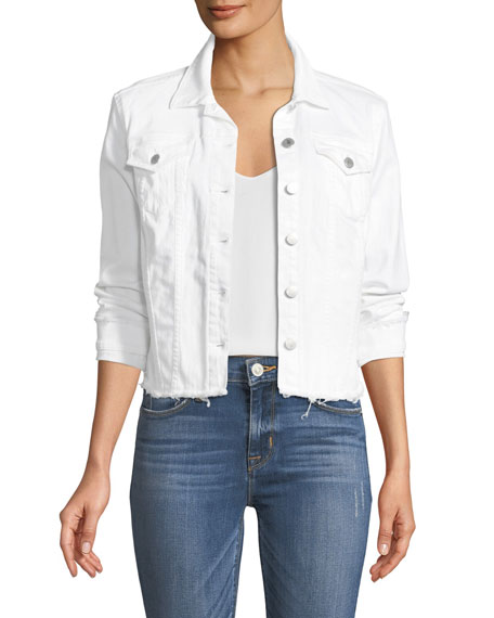 NYDJ Frayed White Denim Jacket