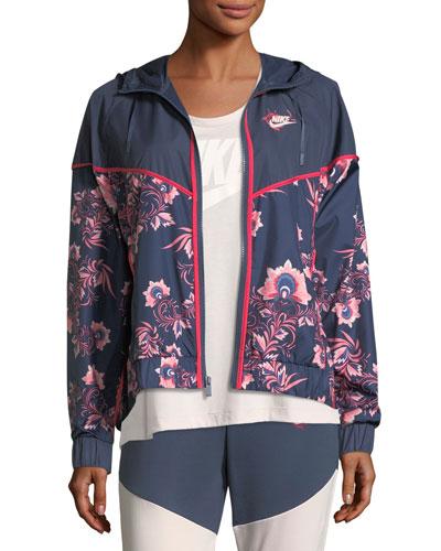 Floral-Print Sportswear Jacket