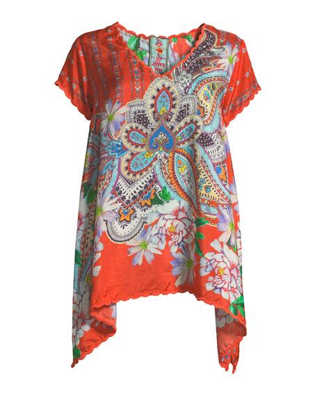 Linko Babydoll Printed Silk Tunic, Plus Size