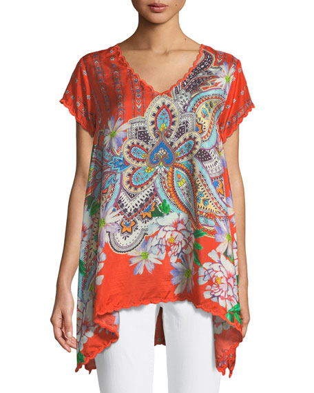 Johnny Was Linko Babydoll Printed Silk Tunic
