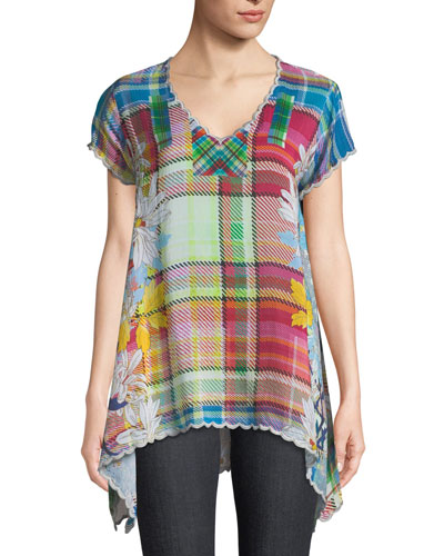 Linko Babydoll Plaid Tunic, Plus Size