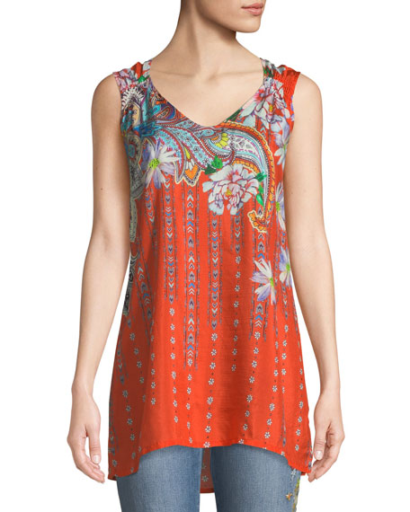 Johnny Was Liv Long Floral-Print Silk Tank