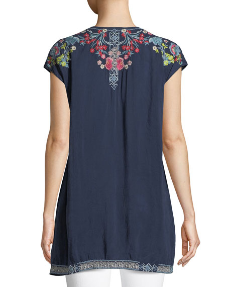 Pari Long Embroidered V-Neck Tunic