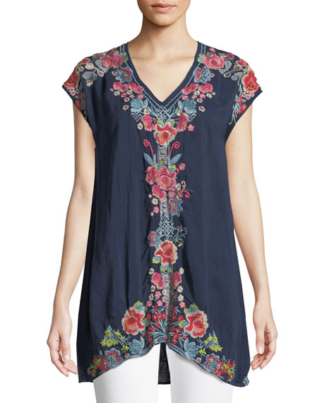 Johnny Was Pari Long Embroidered V-Neck Tunic