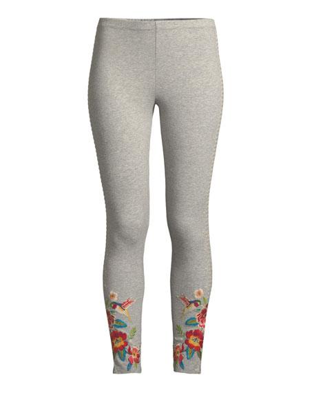 Samira Hummingbird Embroidered Leggings, Plus Size