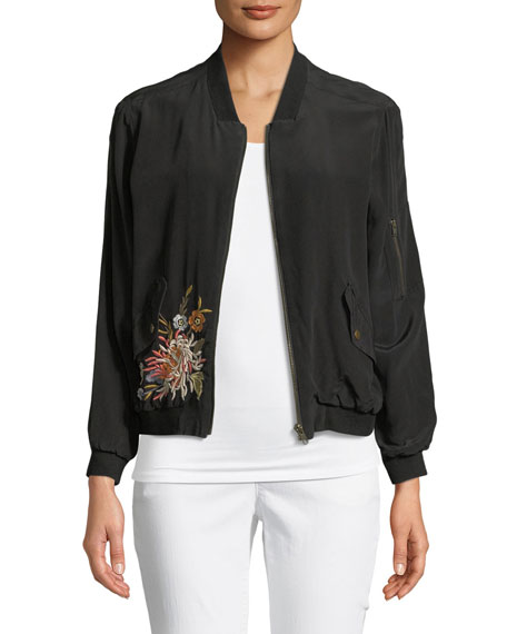 Johnny Was Cerriti Floral-Embroidered Silk Bomber Jacket