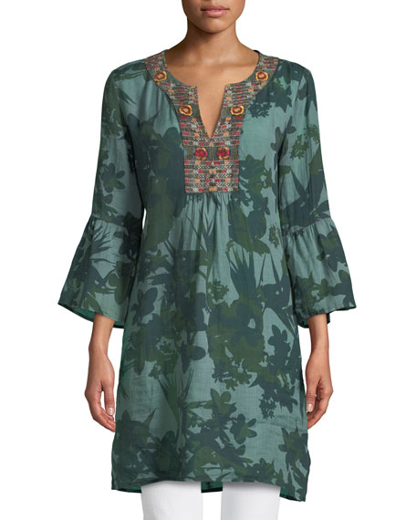 Johnny Was Flare-Sleeve Tunic Dress