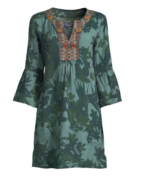 Flare-Sleeve Tunic Dress