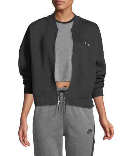 Air Rally Zip-Front Fleece Varsity Jacket
