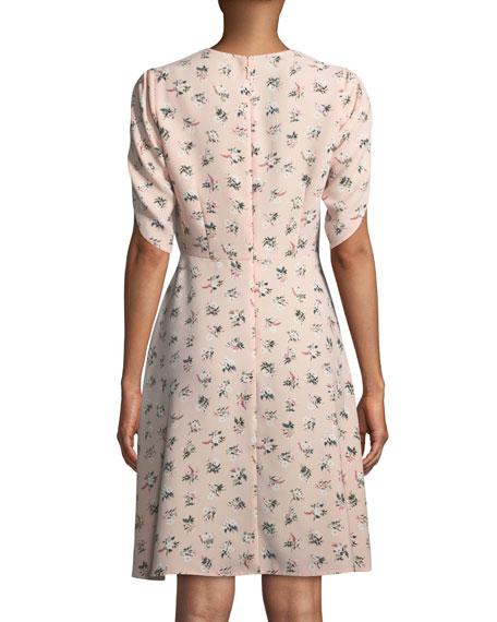 flora split-neck tulip-sleeve dress