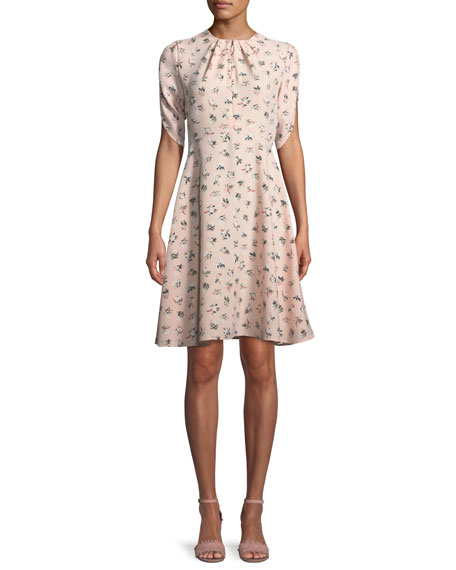flora split-neck tulip-sleeve dress