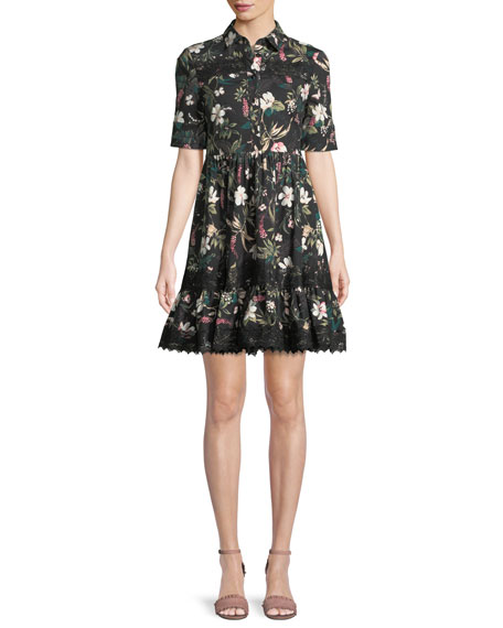 botanical short-sleeve poplin mini dress