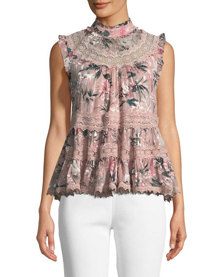 botanical chiffon sleeveless top