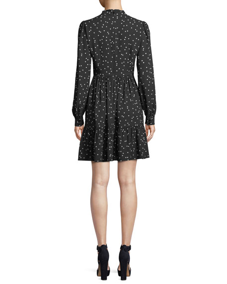 scatter dot self-tie v-neck shirt dress