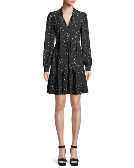 scatter dot self-tie v-neck shirt dress
