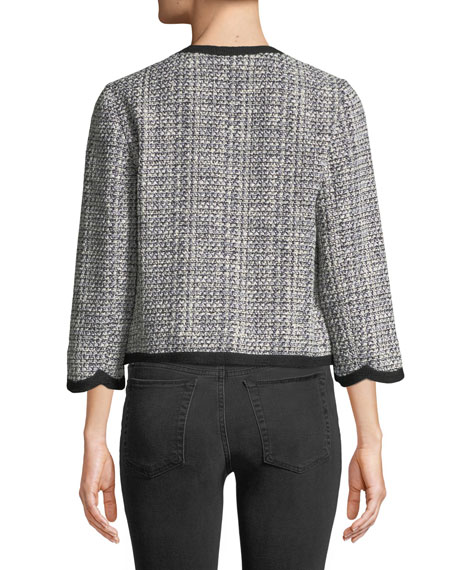 scalloped open-front tweed jacket