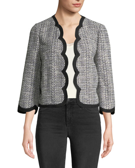 kate spade new york scalloped open-front tweed jacket